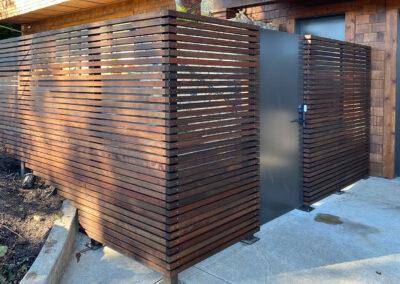 Solid Metal Pedestrian Door w/ Horizontal Wood Privacy Screen