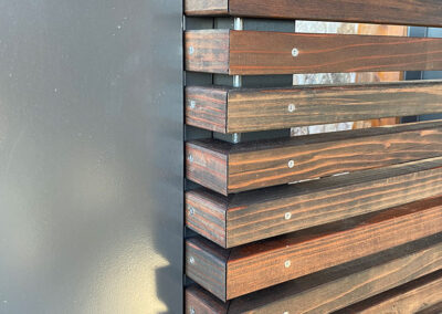 Solid Metal Pedestrian Door w/ Horizontal Wood Privacy Screen Detail